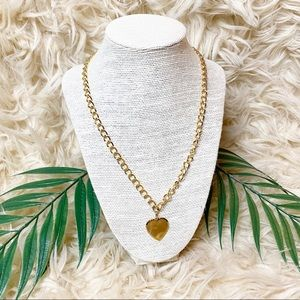 Vintage Gold Chain Heart Pendant Necklace
